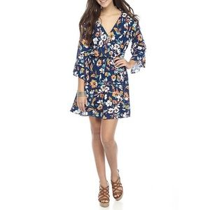 As U Wish Woven Crossover Dress Floral Size Large